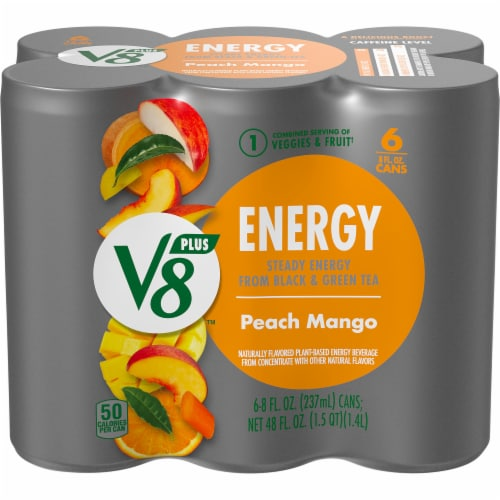 V8 +Energy Peach Mango Juice Blend Perspective: front