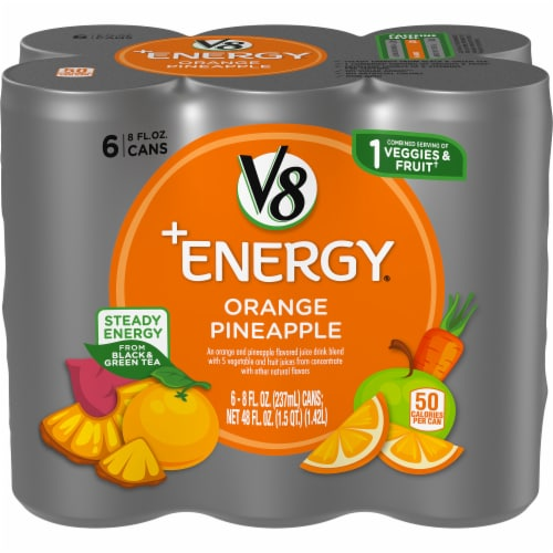 V8 +Energy Orange Pineapple Juice Perspective: front
