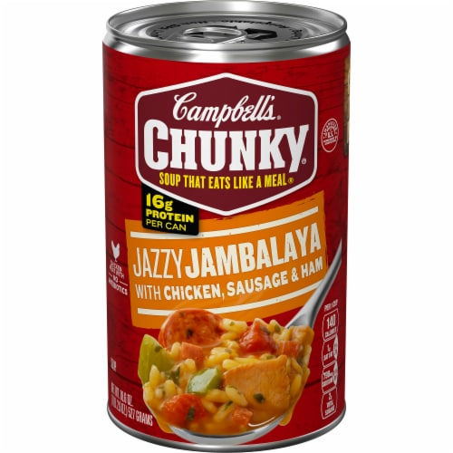 Campbell's Chunky Jazzy Jambalaya with Chicken Sausage & Ham Soup Perspective: front