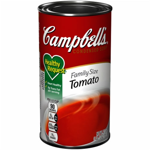 Campbells Family Size Healthy Request Condensed Tomato Soup Perspective: front