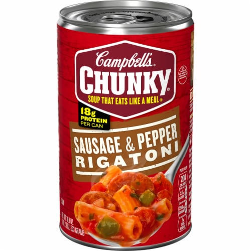 Campbell's Chunky Sausage & Pepper Rigatoni Soup Perspective: front