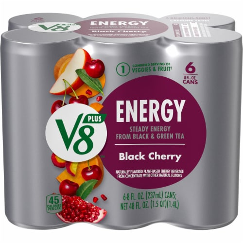 V8 +Energy Black Cherry Beverage Perspective: front