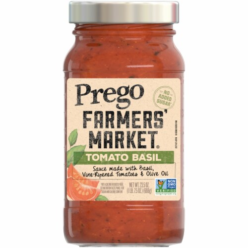 Prego Farmers' Market Tomato & Basil Sauce Perspective: front