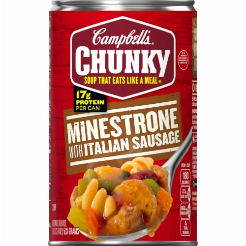 Campbell's Chunky Minestrone with Italian Sausage Soup Perspective: front