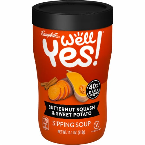 Campbell's Well Yes! Butternut Squash & Sweet Potato Sipping Soup Perspective: front
