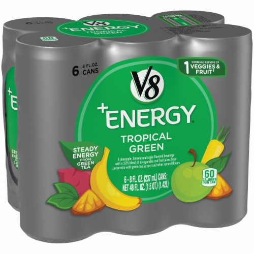 V8 +Energy Tropical Green Beverage Perspective: front