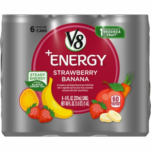 V8 +Energy Strawberry Banana Beverage Perspective: front