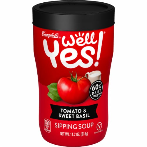 Campbell's Well Yes! Tomato and Sweet Basil Sipping Soup Perspective: front