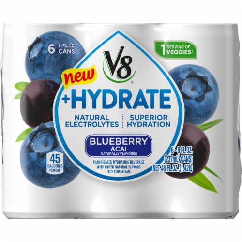 V8 +Hydrate Blueberry Acai Plant Based Hydrating Beverage 6 Cans Perspective: front