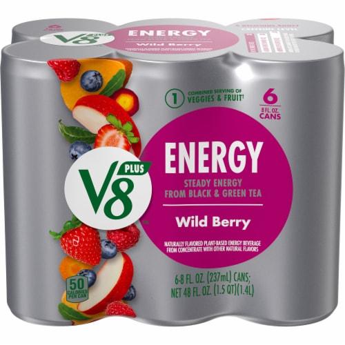 V8 +Energy Wild Berry Veggie & Fruit Juice Blend Perspective: front