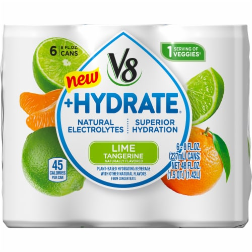 V8 +Hydrate Lime Tangerine Beverage Perspective: front
