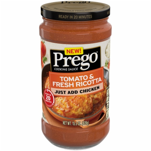 Prego Tomato & Fresh Ricotta Cooking Sauce Perspective: front