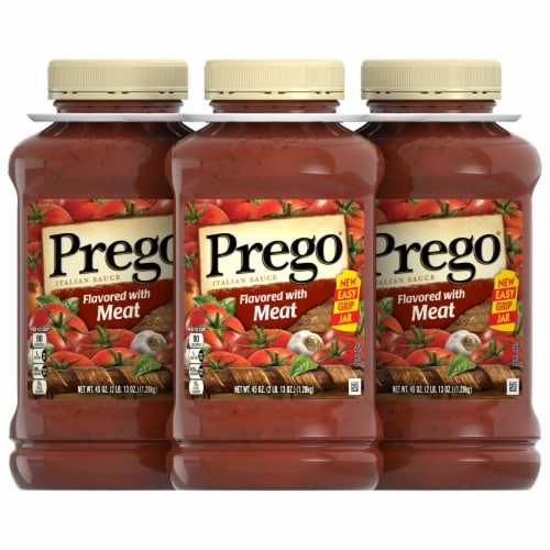Prego Flavored with Meat Italian Pasta Sauce 3 Count Perspective: front