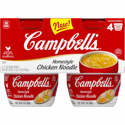 Campbell's Microwaveable Cups Homestyle Chicken Noodle Soup Perspective: front