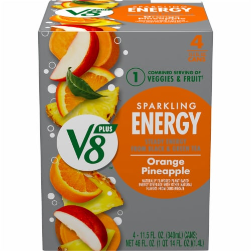V8 Orange Pineapple Sparkling Juice Drink Perspective: front