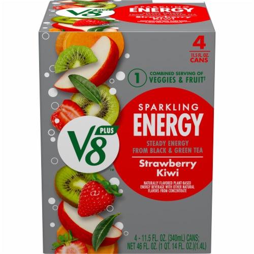 V8 Strawberry Kiwi +EnergyPlant-Based Energy Beverage Perspective: front
