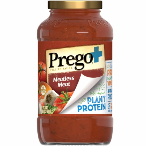 Prego Plant Protein Meatless Meat Sauce Perspective: front