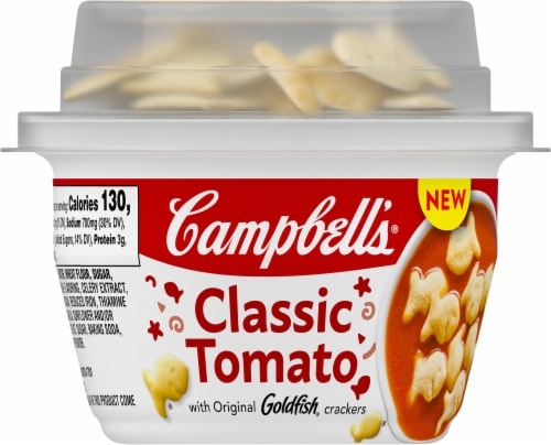 Campbell's Classic Tomato Soup with Goldfish Crackers Perspective: front