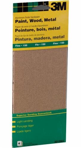 3M Aluminum Oxide Fine Sandpaper - 6 Pack Perspective: front