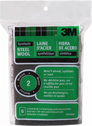 3M Medium Synthetic Steel Wool - 6 Pack - Black Perspective: front