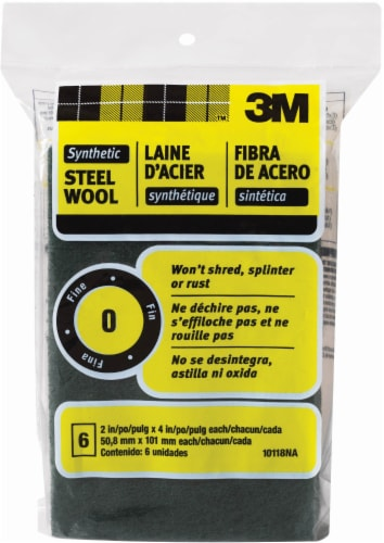 3M Fine Synthetic Steel Wool - 6 Pack - Black Perspective: front