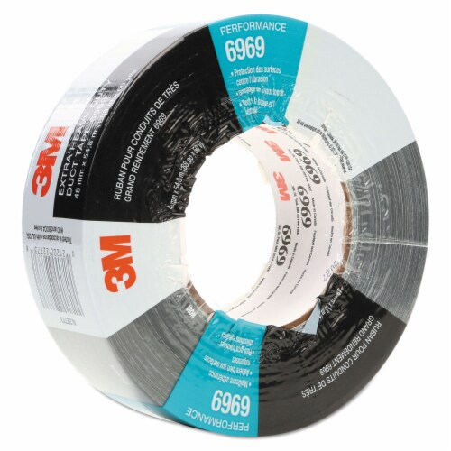3m 6969 Extra-Heavy-Duty Duct Tape, 3  Core, 48 Mm X 54.8 M, Silver 6969 Perspective: front