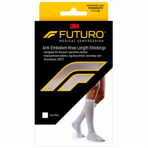 Futuro Anit-Embolism Large Knee Length Closed Toe Stockings - White Perspective: front
