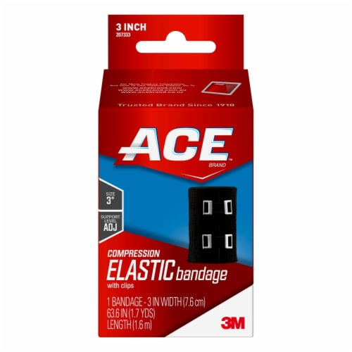 Ace Black Compression Elastic Bandage with Metal Clips - 3 Inch Perspective: front