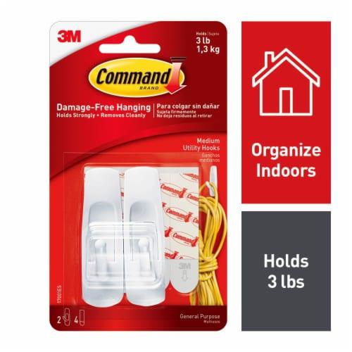 Command™ Damage-Free Hanging Medium Utility Hooks - White Perspective: front