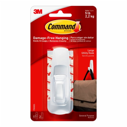 Command™ Damage-Free Hanging Large Utility Hook - White Perspective: front