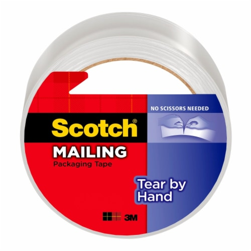 Scotch® Tear-by-Hand Mailing Packaging Tape - Clear Perspective: front
