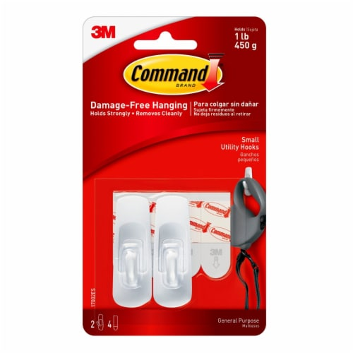 Command™ Damage-Free Hanging Small Utility Hooks - White Perspective: front