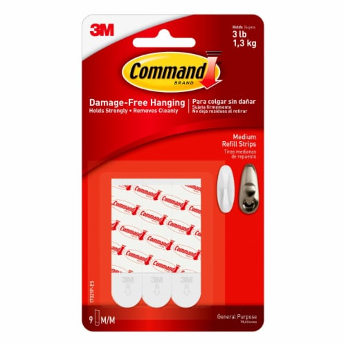 Command™ Medium Damage-Free Refill Strips 9 Pack - White Perspective: front
