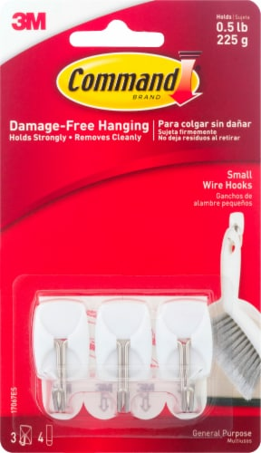 Command™ Damage-Free Small Wire Hooks - White Perspective: front