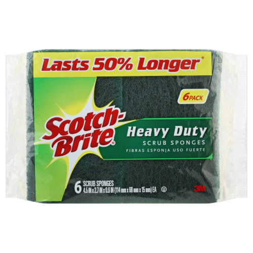 Scotch-Brite™ Heavy Duty Scrub Sponges - 6 pk - Green/Yellow Perspective: front