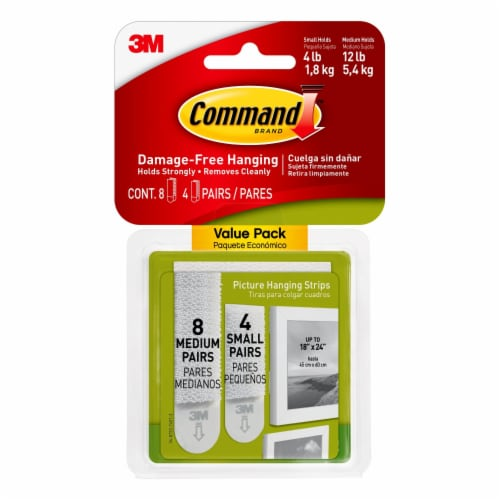 Command™ Damage-Free Small and Medium Picture Hanging Strips - White Perspective: front
