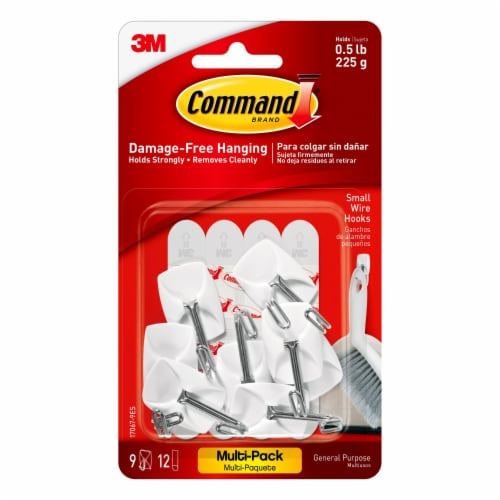 Command™ Damage-Free Hanging 3M Small Wire Hooks - 9 Pack Perspective: front