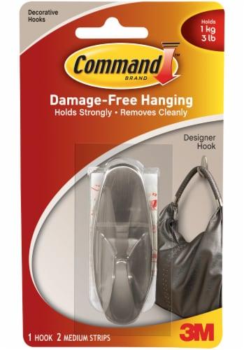 Command™ Damage-Free Designer Hook - Brushed Nickel Perspective: front