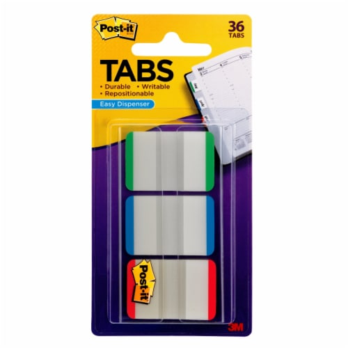 Post-it® Durable Filing Tabs - 3 Pack - Green/Blue/Red Perspective: front
