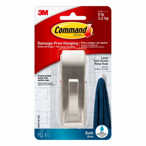 Command™ Large Satin Nickel Metal Bath Hook - Silver Perspective: front