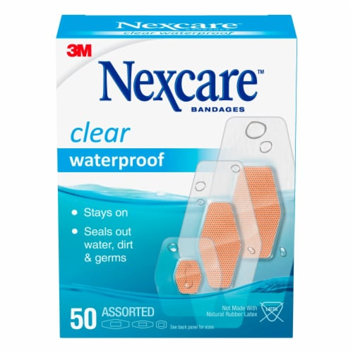 Nexcare Waterproof Clear Assorted Bandages 50 Count Perspective: front
