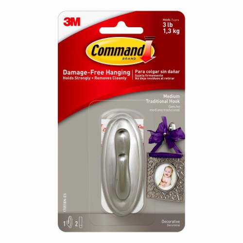 Command™ Brushed Nickel Damage-Free Hanging Medium Traditional Hook Perspective: front