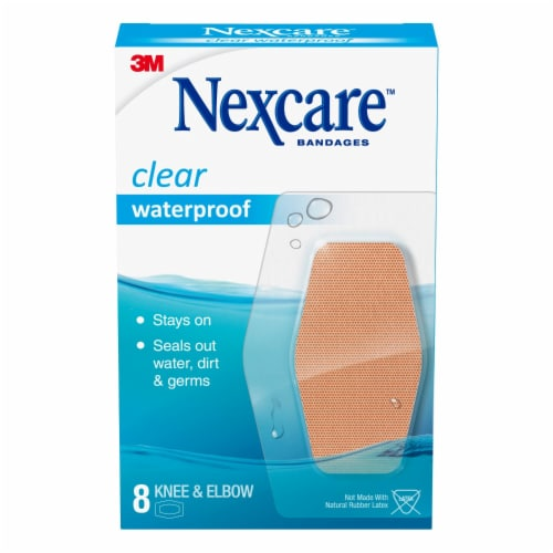 Nexcare Waterproof Clear Knee & Elbow Bandages 8 Count Perspective: front
