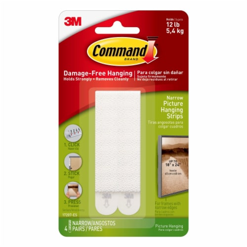 3M Command Picture and Frame Damage-Free Strips 4 Pack - Narrow Perspective: front