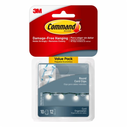 Command™ Damage-Free Round Cord Clips Value Pack - Clear Perspective: front