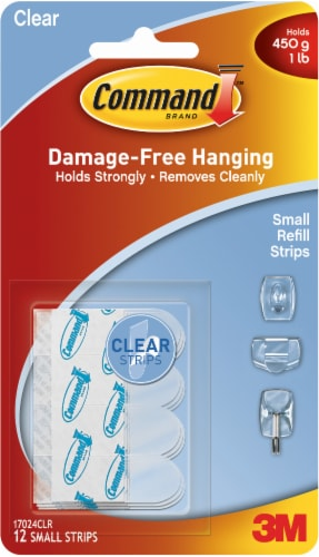 3M Command Damage-Free Refill Strips 12 Pack - Clear Perspective: front