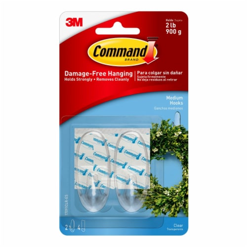 Command™ Damage-Free Medium Hooks - Clear Perspective: front