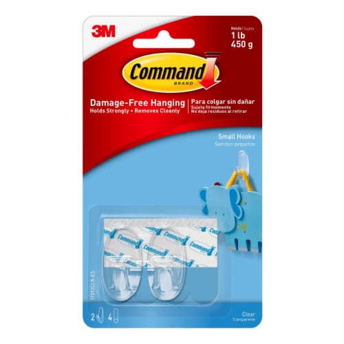 Command™ Small Clear Hooks with Clear Strips Perspective: front