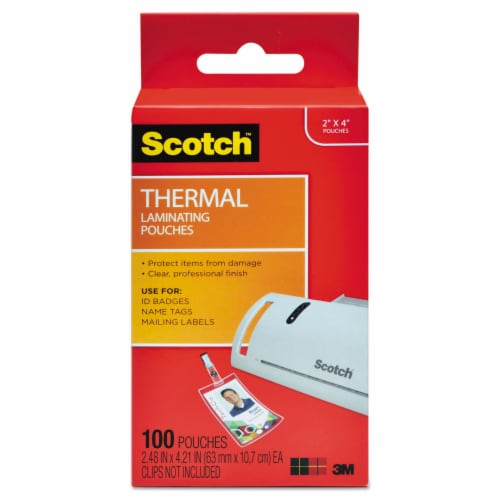 Scotch Laminating Pouches, 5 Mil, 2.25  X 4.25 , Gloss Clear, 100/Pack TP5852100 Perspective: front