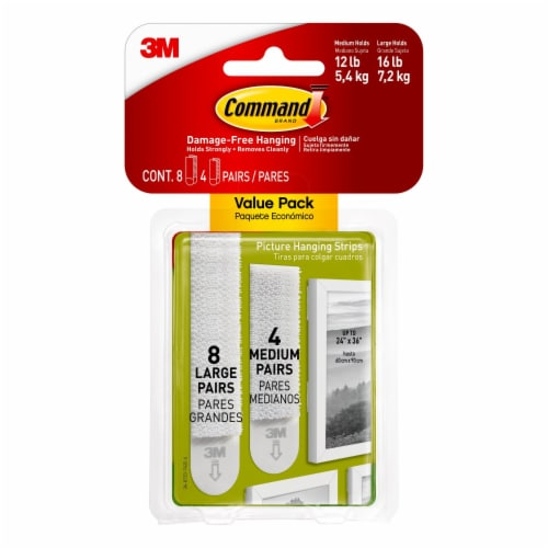 Command™ Medium and Large Picture Hanging Strips - White Perspective: front